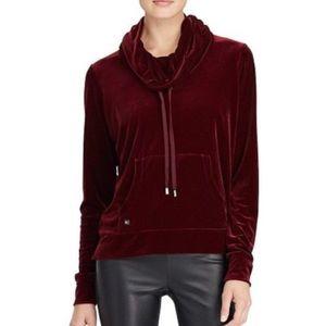 Ralph Lauren Velvet Cowl Neck Pullover Sweatshirt